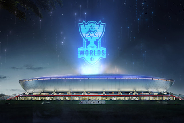 'League of Legends' World Championship 2020 logo above Pudong Soccer Stadium in Shanghai, China