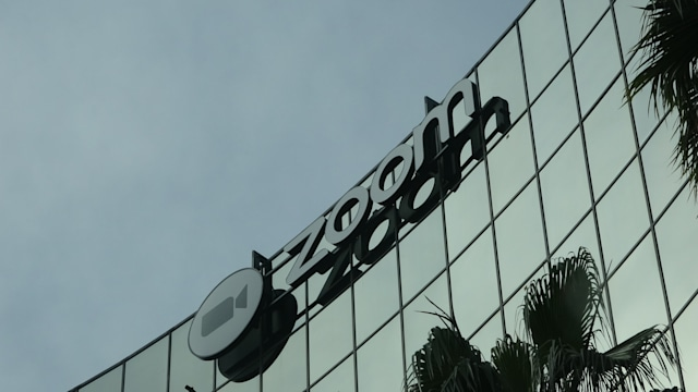 Facade with sign at headquarters of videoconferencing, remote work, and webinar technology company Zoom (ZM) in the Silicon Valley, San Jose, California, March 28, 2020. (Photo by Smith Collection/Gado/Getty Images)