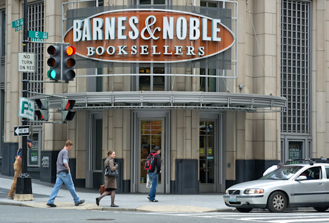 """(FILES) A Barnes & Noble bookstore is seen in this April 30, 2012 file photo in Washington,DC. US bookseller Barnes & Noble said September 25, 2012 it would launch a video service with films and television programs which can be purchased by owners of its Nook tablet in the United States and Britain. The service to debut later this year will include """"blockbuster movies, classic films and original TV shows from major studios"""" for viewing on tablets, televisions or smartphones. Participating studios include HBO, Sony Pictures Home Entertainment, Starz, Viacom, Warner Bros. and Walt Disney.  AFP PHOTO/KAREN BLEIER / FILES        (Photo credit should read KAREN BLEIER/AFP/GettyImages)"""