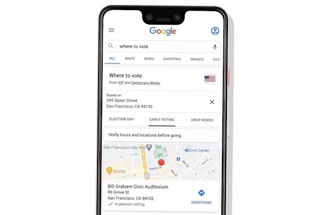 Google search shows voting locations for US election 2020