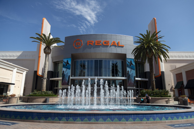 IRVINE, CA - SEPTEMBER 17, 2020: The Regal Irvine Spectrum has reopened with a new high-tech look  on September 17, 2020 in Irvine, California. It was closed for months during the pandemic, but during that time the 21 screen theatre has renovated seating, concessions and individual theaters.(Gina Ferazzi / Los Angeles Times via Getty Images)