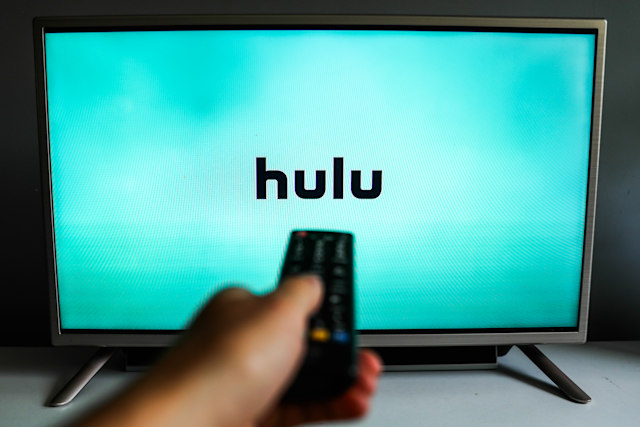 Hulu logo is seen displayed on TV screen in this illustration photo taken in Poland on July 17, 2020. On-Demand streaming services gained popularity and new subscribers during the coronavirus pandemic.  (Photo Illustration by Jakub Porzycki/NurPhoto via Getty Images)