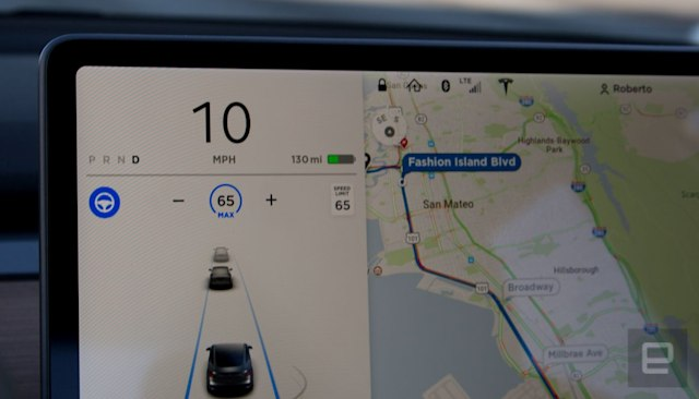 Tesla Model 3 navigation with Autopilot