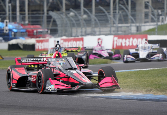 Oct 3, 2020; Indianapolis, Indiana, USA; Indy Series driver Alex Palou (55) during the Harvest Grand Prix at Indianapolis Motor Speedway. Mandatory Credit: Mike Dinovo-USA TODAY Sports