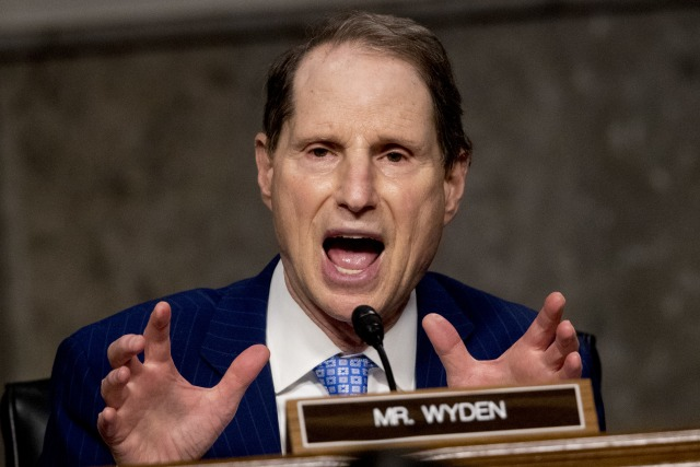 US Senator Ron Wyden speaks as US Trade Representative Robert Lighthizer appears at a Senate Finance Committee hearing on the Presidents 2020 trade policy agenda, on Capitol Hill, June 17, 2020, in Washington, DC. (Photo by Andrew Harnik / POOL / AFP) (Photo by ANDREW HARNIK/POOL/AFP via Getty Images)