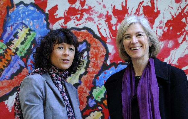 French researcher in Microbiology, Genetics and Biochemistry Emmanuelle Charpentier (L) and US  professor of Chemistry and of Molecular and Cell Biology, Jennifer Doudna posse beside a painting  made by children of the genoma at the San Francisco park in Oviedo, on October 21, 2015. Charpentier and Doudna have been awarded the 2015 Princess of Asturias Award for technical and scientific research.. AFP PHOTO/ MIGUEL RIOPA / AFP / MIGUEL RIOPA        (Photo credit should read MIGUEL RIOPA/AFP via Getty Images)