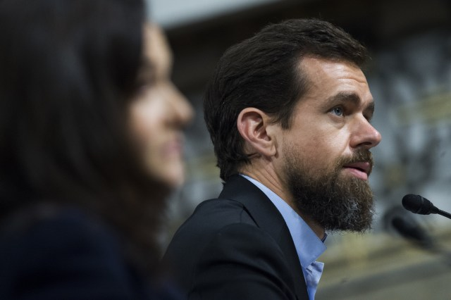 UNITED STATES - SEPTEMBER 05: Jack Dorsey, Twitter CEO, and Sheryl Sandberg, Facebook COO, testify during a Senate (Select) Intelligence Committee hearing in Dirksen Building on the influence of foreign operations on social media on September 5, 2018. (Photo By Tom Williams/CQ Roll Call)