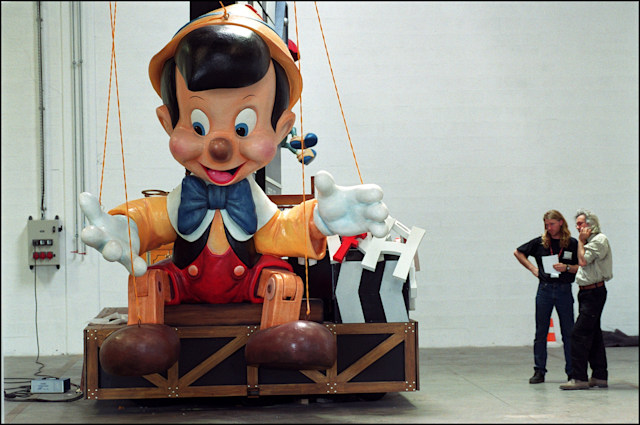 NETHERLANDS - MAY 01:  In Paris, the Disney Cinema Parade pays tribute to the world of cinema In Netherlands In May, 2002-Construction of the Pinocchio float in the Netherlands.  (Photo by Remi BENALI/Gamma-Rapho via Getty Images)