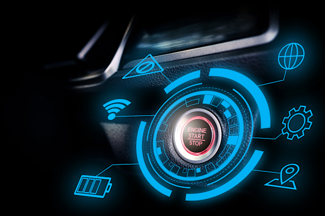Engine start stop buttom of futuristic autonomous smart car with technology display