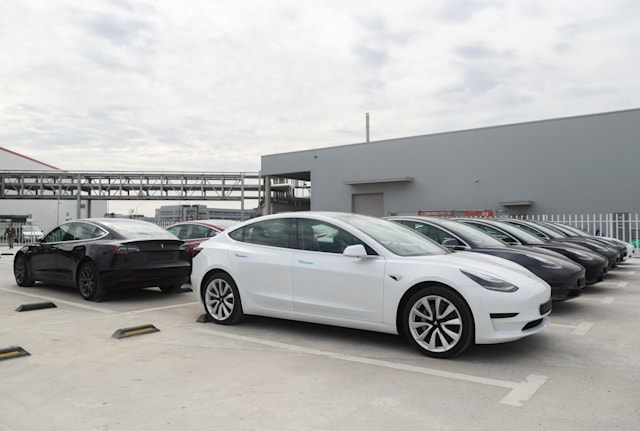 SHANGHAI, Oct. 26, 2020 -- Photo taken on Oct. 26, 2020 shows the Tesla China-made Model 3 vehicles at its gigafactory in Shanghai, east China. U.S. carmaker Tesla announced Monday that it will export 7,000 vehicles of made-in-China Model 3 to Europe on Tuesday.     The batch of sedans is expected to arrive at the port of Zeebrugge in Belgium by sea at the end of November, before being sold in European countries including Germany, France, Italy, Spain, Portugal and Switzerland.     Tesla delivered the first batch of made-in-China Model 3 sedans to the public earlier this year, one year after the company broke ground on its first overseas plant. (Photo by Ding Ting/Xinhua via Getty) (Xinhua/Ding Ting via Getty Images)