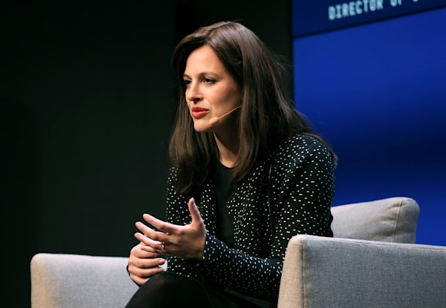 SAN FRANCISCO, CALIFORNIA - NOVEMBER 08: Anne Neuberger speaks onstage at the WIRED25 Summit 2019 - Day 1 at Commonwealth Club on November 08, 2019 in San Francisco, California. (Photo by Phillip Faraone/Getty Images for WIRED)