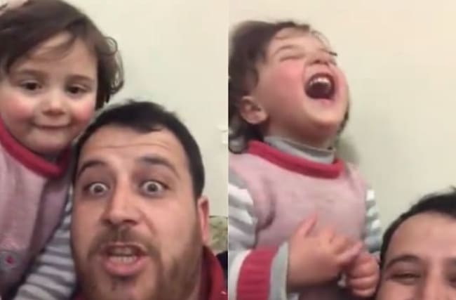 Syrian father teaches daughter to laugh when bombs fall