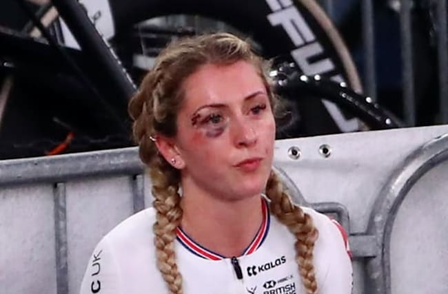 Laura Kenny continues after collision to finish 12th