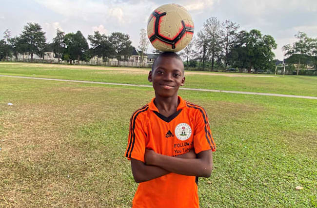 Nigerian boy hopes for future in soccer after setting freestyle world record