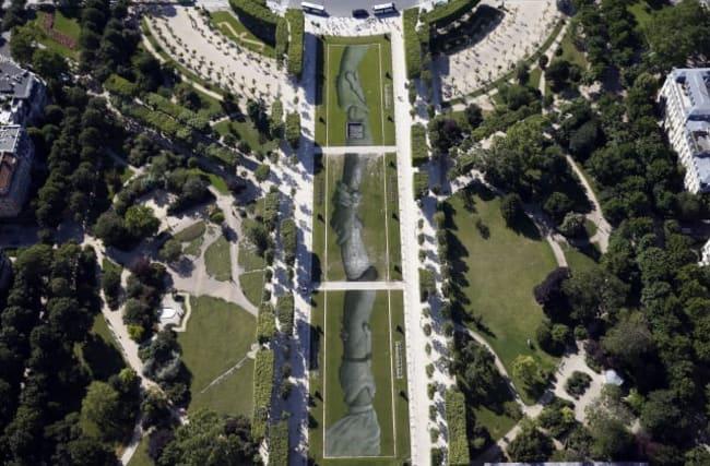 Massive biodegradable artwork graces Paris park