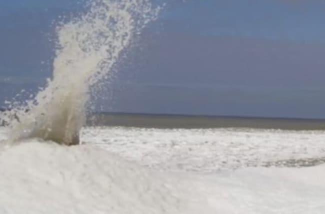 Bizarre 'ice volcanoes' caught on camera