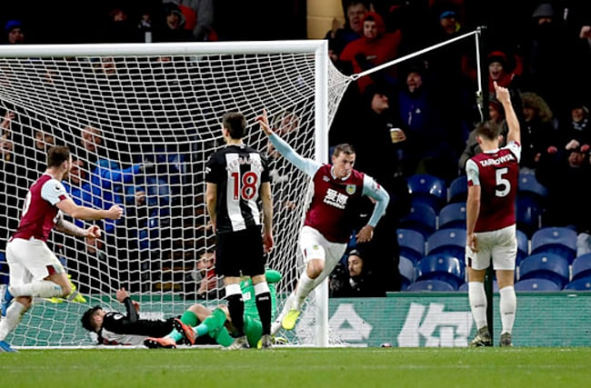 Wood on target for Burnley against patched-up Newcastle