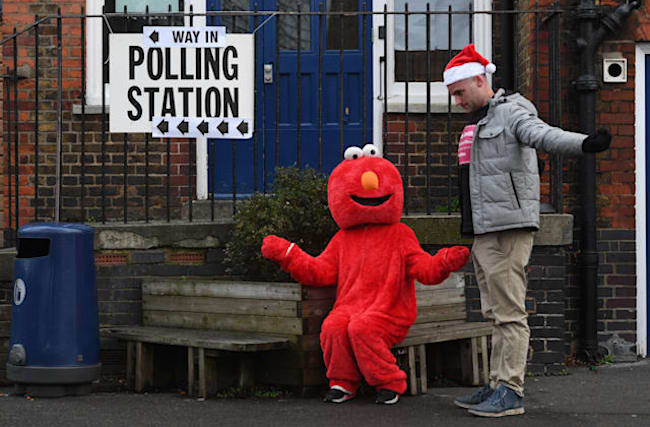In Pictures: Elmo and Santa lead the way as UK goes to the polls