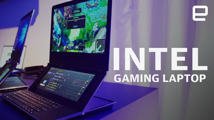 Intel dual-screen gaming laptop prototype Honeycomb Glacier Hands-On at Computex 2019