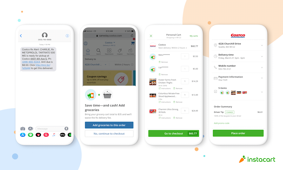 Screenshots depicting the Costco pharmacy delivery process in the Instacart app.