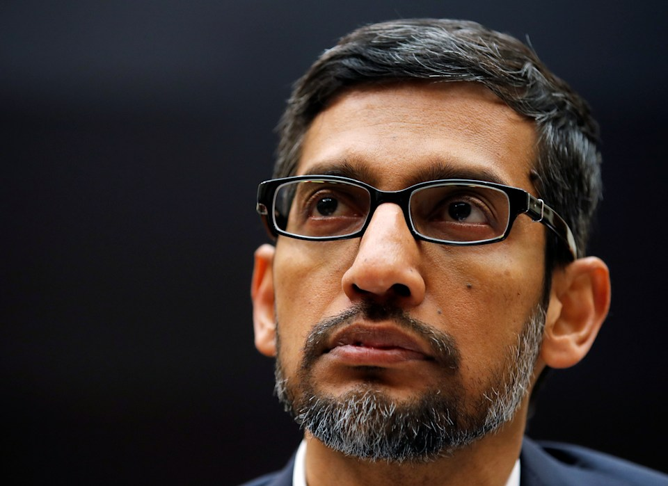 "Google CEO Sundar Pichai testifies at a House Judiciary Committee hearing ""examining Google and its Data Collection, Use and Filtering Practices"" on Capitol Hill in Washington, U.S., December 11, 2018. REUTERS/Jim Young"