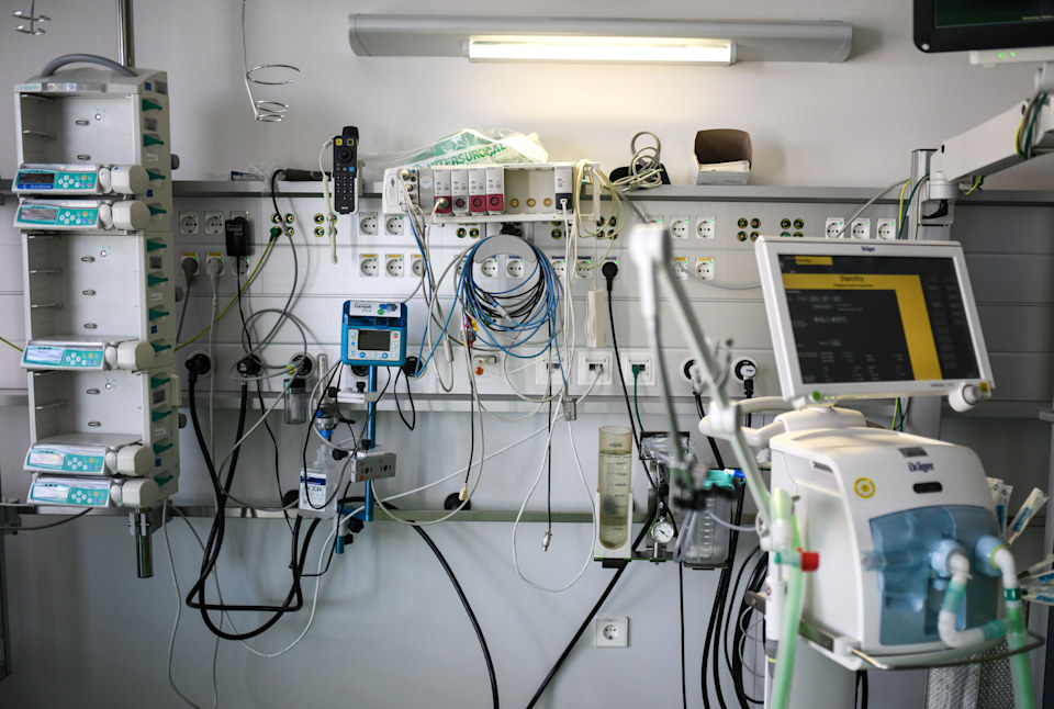 The connections for a patient bed with a respirator are seen in the intensive care unit at the University hospital of Aachen, western Germany, on April 15, 2020 during the novel coronavirus COVID-19 pandemic. (Photo by Ina FASSBENDER / AFP) (Photo by INA FASSBENDER/AFP via Getty Images)