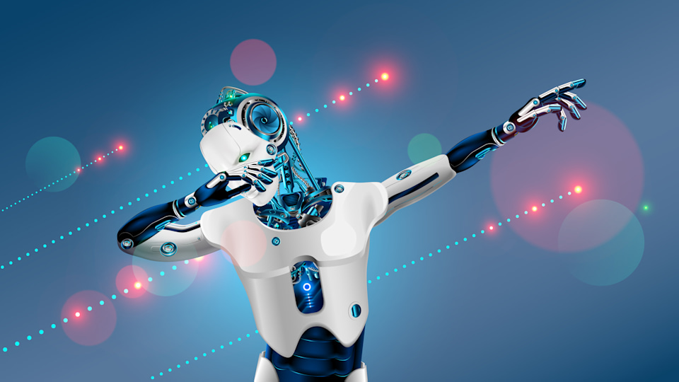 Robot or cyborg dabbing on party. Android in dab pose. Cybernetic man with artificial intelligence dance in nightclub techno or electronic music. 3d Robot have bionic face, hands and body.