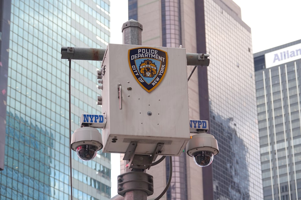 09 September 2019, US, New York: The logo of the New York City Police Department (NYPD) stands on a surveillance camera near Times Square. Photo: Alexandra Schuler/dpa (Photo by Alexandra Schuler/picture alliance via Getty Images)