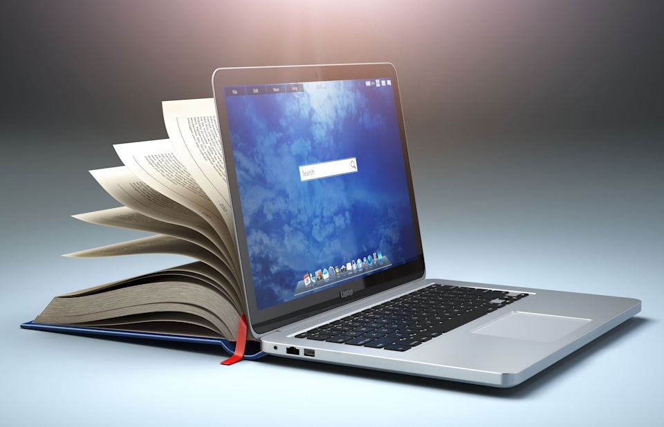 laptop and book visual mashup
