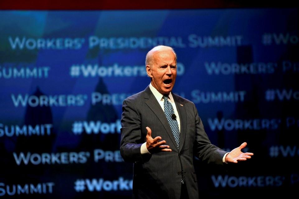Former U.S. Vice President Joe Biden addresses attendees during the AFL-CIO Workers Presidential Summit in Philadelphia, Pennsylvania, U.S., September 17, 2019. REUTERS/Mark Makela     TPX IMAGES OF THE DAY
