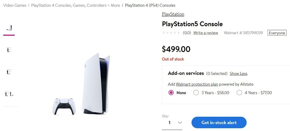 Walmart PS5 order page