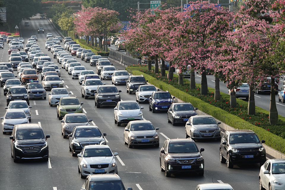 NANNING, CHINA - NOVEMBER 22: Vehicles drive on the street before the 17th China-ASEAN Expo on November 22, 2020 in Nanning, Guangxi Zhuang Autonomous Region of China. The 17th China-ASEAN Expo (CAEXPO) will be held on November 27-30 in Nanning. (Photo by Yu Xiangquan/VCG via Getty Images)