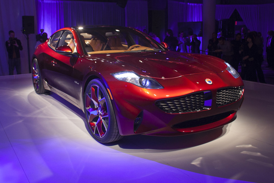 The Fisker automotive electric Atlantic sedan is seen during its unveiling ahead of the 2012 International Auto Show in New York April 3, 2012. REUTERS/Allison Joyce (UNITED STATES - Tags: TRANSPORT BUSINESS)
