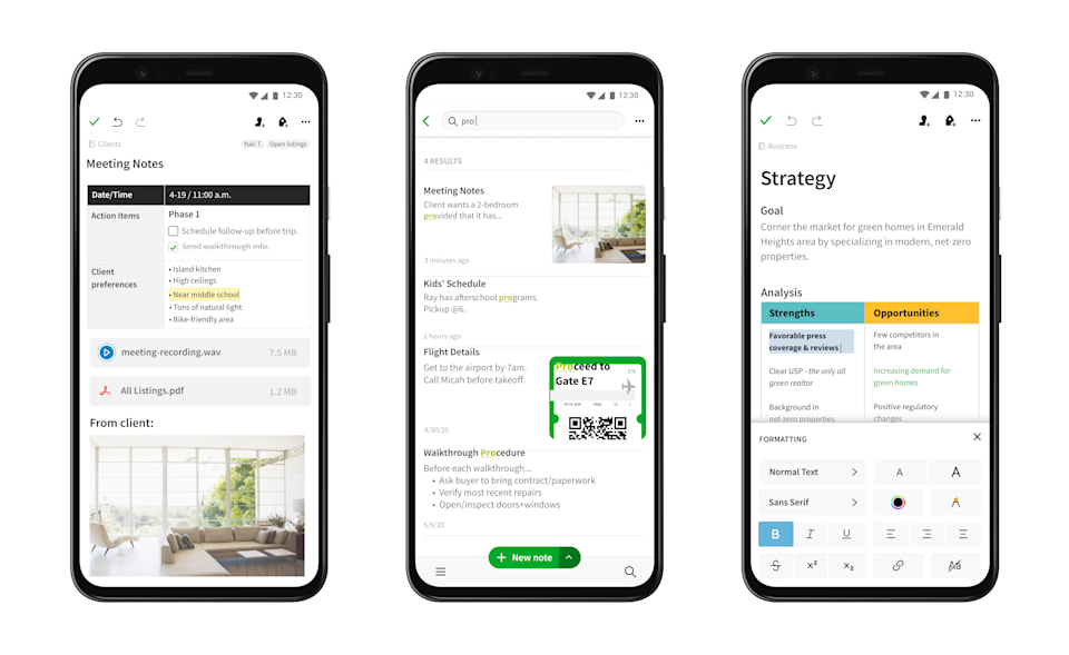 Evernote redesign on Android