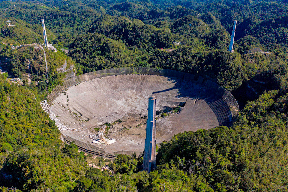 Arecibo radio telescope with collapsed segments