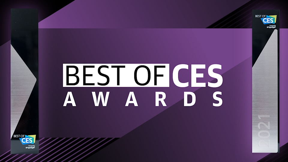 "Onscreen text saying ""Best of CES Awards."""
