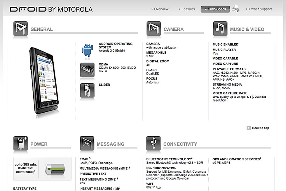Motorola Droid's website published a bit early, with specs