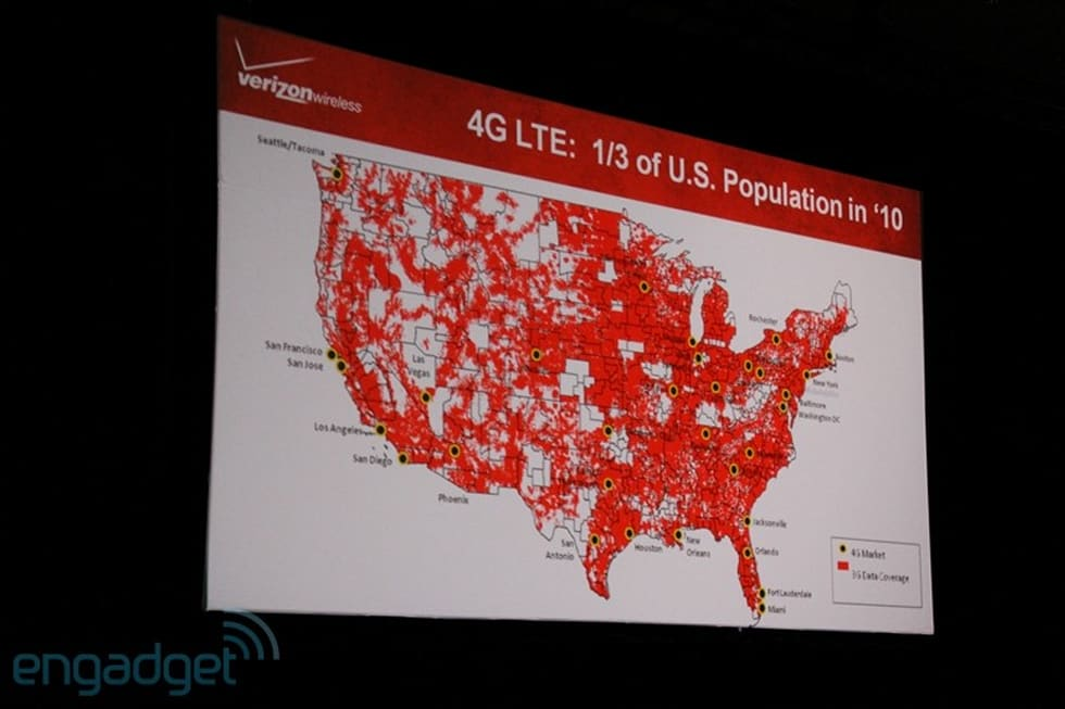 Verizon's 4G LTE launch coverage map on 4g network map, 4g data map, mobile map, 4g internet map, 4g wimax coverage map, nfc map, 4g wireless map, 4g verizon map, mac map, netflix map, wifi map,