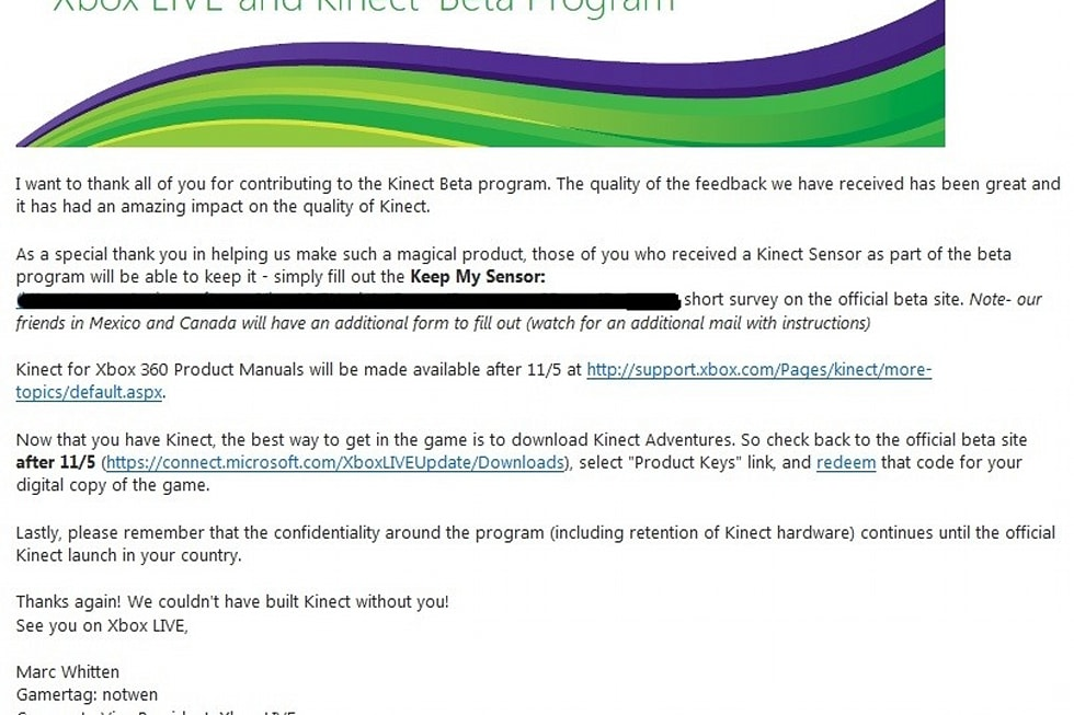 Rumor: Kinect beta testers can keep sensor, get free Kinect