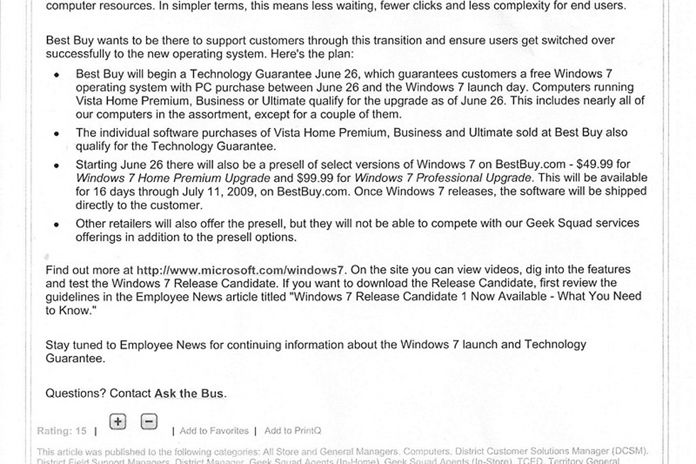 Best Buy Memo Explains That Vista Doesn T Work Details Windows 7 Upgrade Plans
