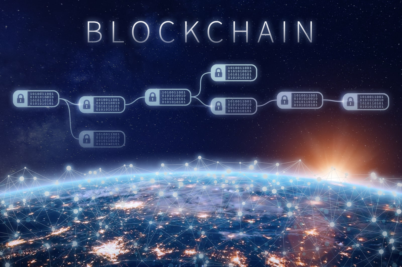 Blockchain financial technology concept, network encrypted chain of blocks, Earth