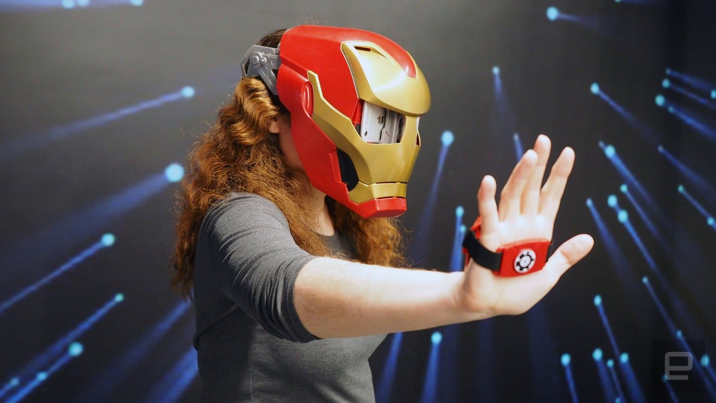 Lady with no dignity wearing Iron Man helmet