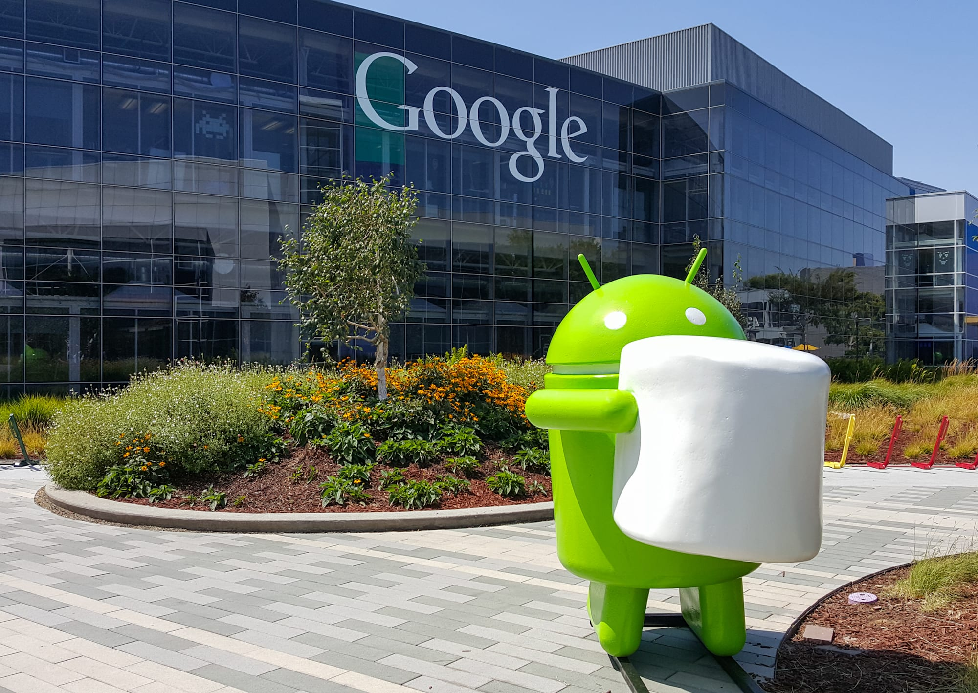 Exterior view of Google office with Android Marshmallow