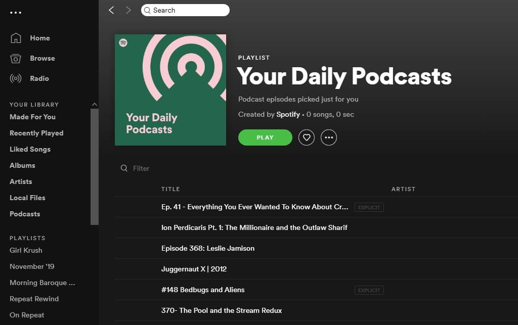 Spotify Your Daily Podcasts