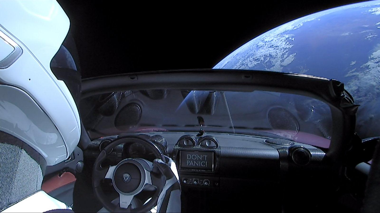 Starman in a Tesla Roadster