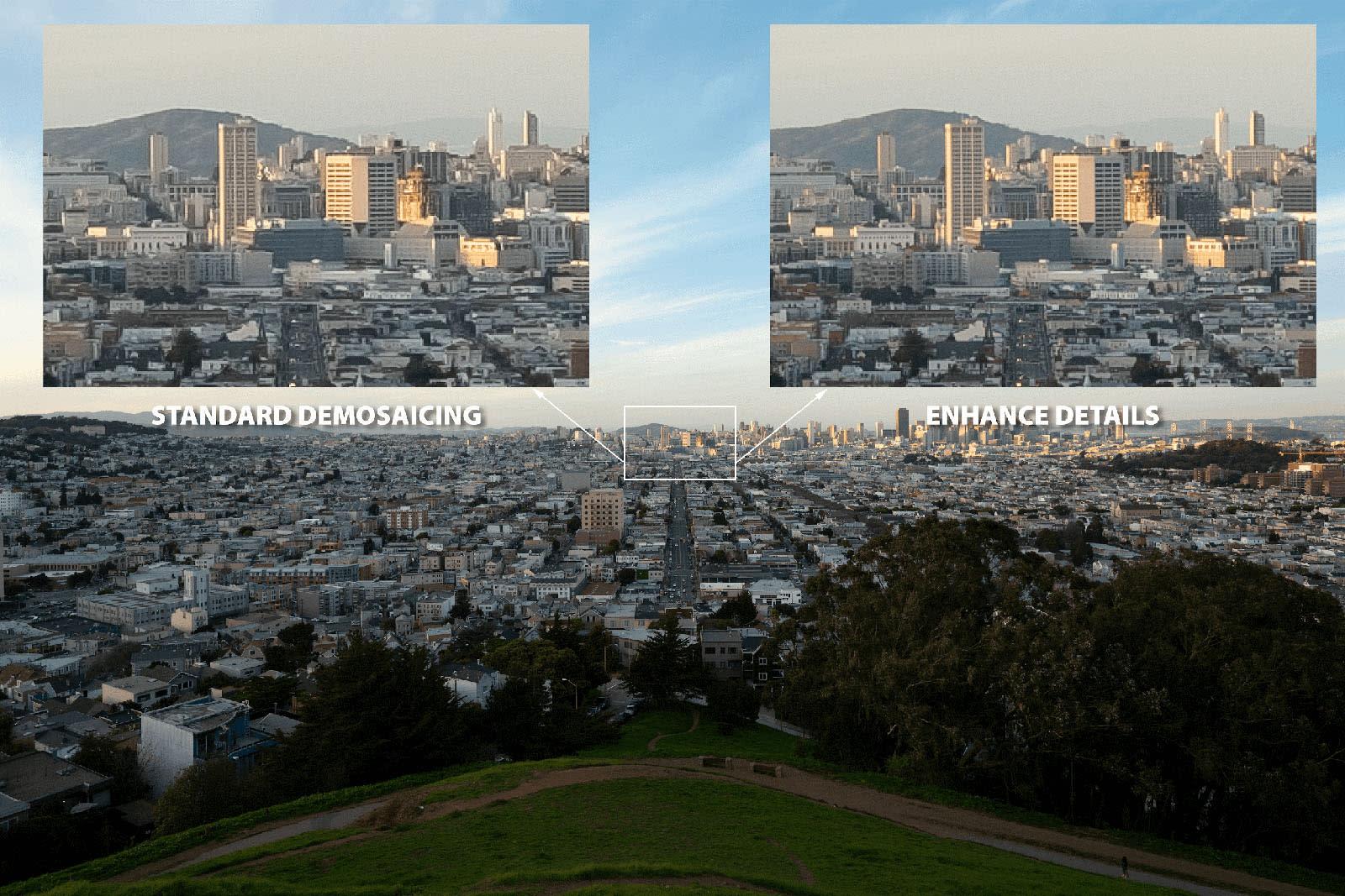 Adobe Lightroom Enhance Details demosaic