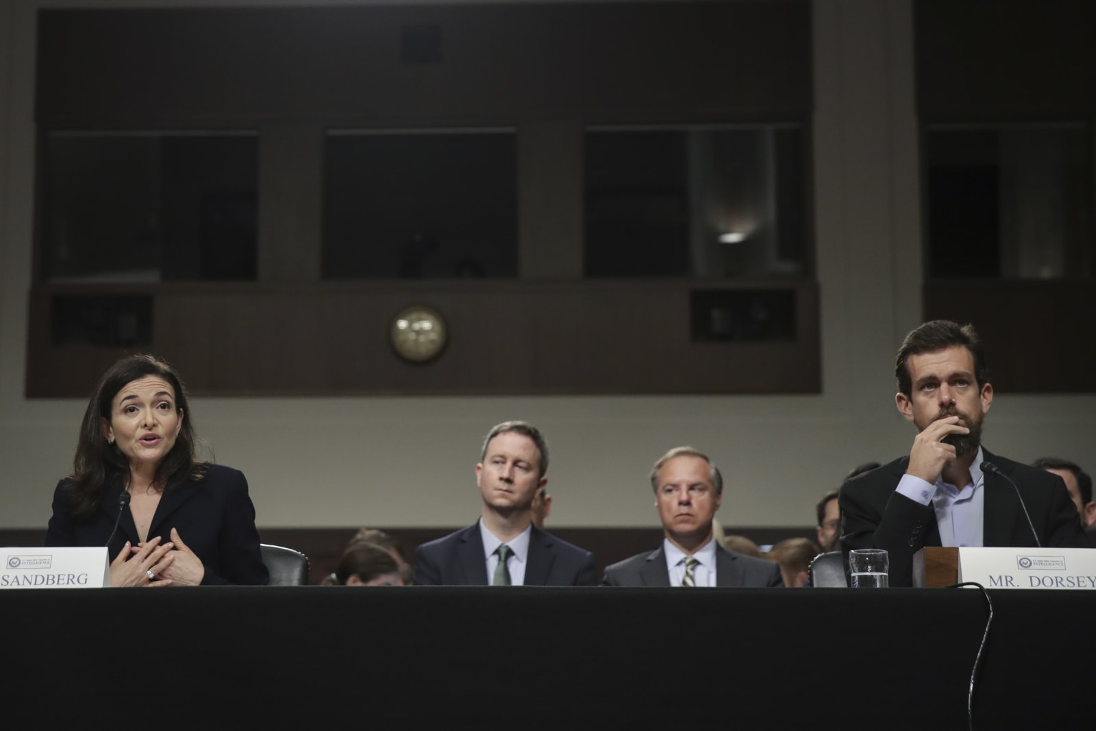Twitter CEO Jack Dorsey And Facebook COO Sheryl Sandberg Testify To Senate Committee On Foreign Influence Operations