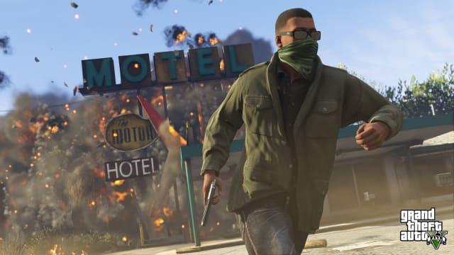 An exploding motel in 'GTA V'