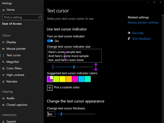 Windows 10 cursor customization