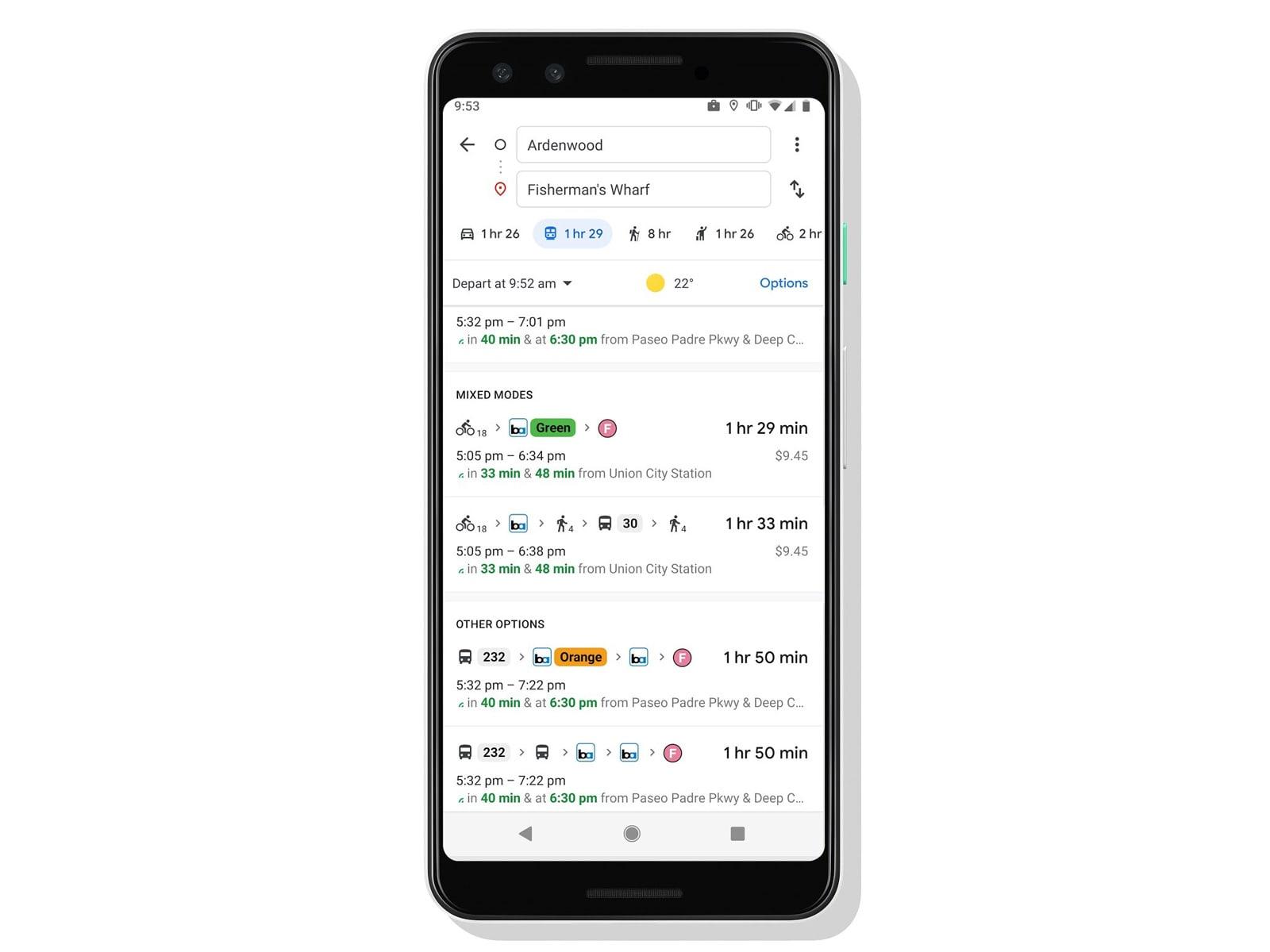Google Maps last-mile transit options